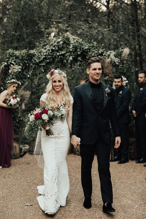 Autumn Nashville Wedding at Drakewood Farm We are swooning over the rich fall colors in this gorgeous farm wedding Backless Lace Wedding Dress, Wedding Dresses, Men Wedding Attire, Man Wedding Dress, Black Bridesmaid Dresses, Dress Lace, Black Suit Wedding, Fall Wedding Suits, Wedding For Men