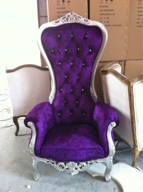 THIS IS THE CHAIR THAT I WANT IN MY DRESSING ROOM!!! The Kings Chair - Throne - (Purple/Silver)  LOVE THIS!!