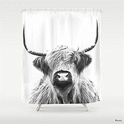 Amazon Com Black And White Highland Cow Portrait Shower Curtain