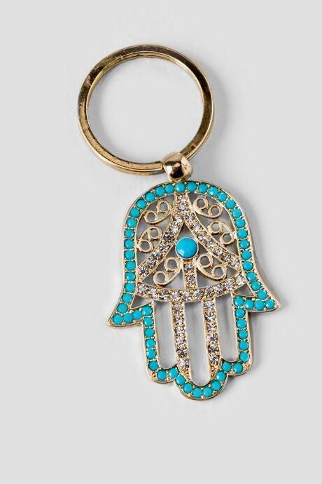 Turquoise Hamsa Hand Keychain $8.00
