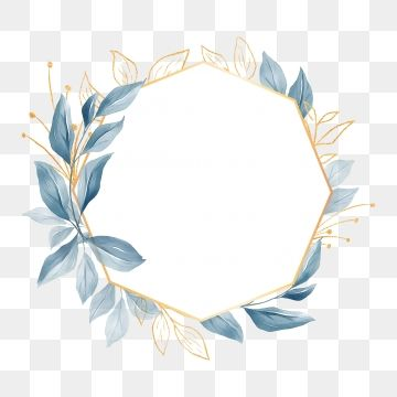 Elegant Geometric Floral Frame With Blue Leaves For Wedding Or Greeting Card Floral Clipart Invitation Leaf Png Transparent Clipart Image And Psd File For Fr Flower Frame Floral Border Design Wedding