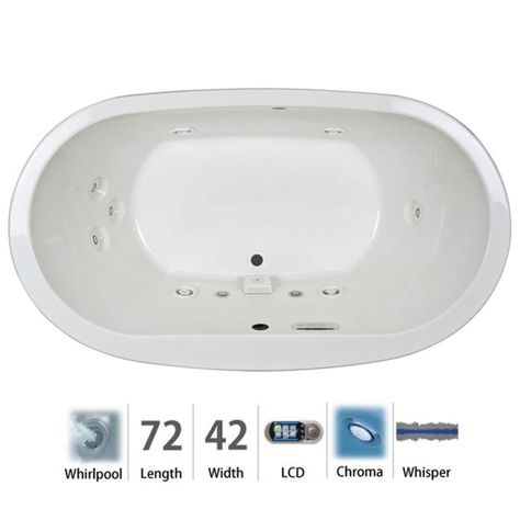 "Jacuzzi MIO7242WCR5CW Mio 72"" Whirlpool Bathtub for Drop In / Undermount Install White Tub Whirlpool Drop-In"