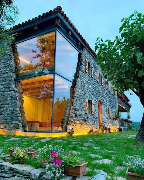 Beautiful glass and stone house design located in Albania 😍🇦🇱 Architect 📐 Restaurant 🍽 Cheers epicureans! Dream Home Design, Modern House Design, Home Interior Design, Exterior Design, Interior Decorating, Glass House Design, Diy Decorating, Modern Glass House, Stucco Exterior