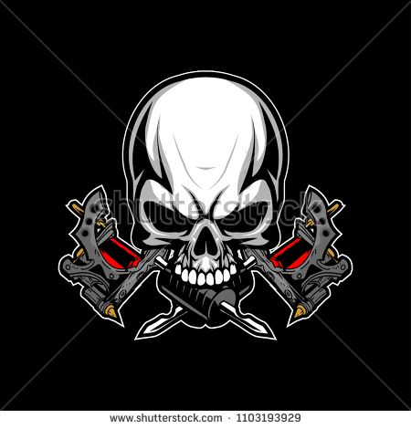 Skull With Tattoo Machine Vector Logo Template Buy This Vector On Shutterstock Find Other Images Vector Logo Tattoo Machine Machine Logo