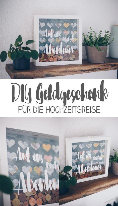 DIY Geldgeschenk zur Hochzeit - Geld für die Hochzeitsreise kreativ verpacken im Ribba Rahmen IKEA - DIY IKEA Hack - Anleitung #hochzeit #diygeschenk #hochzeitsgeschenk #geldverschenken #ikeahack