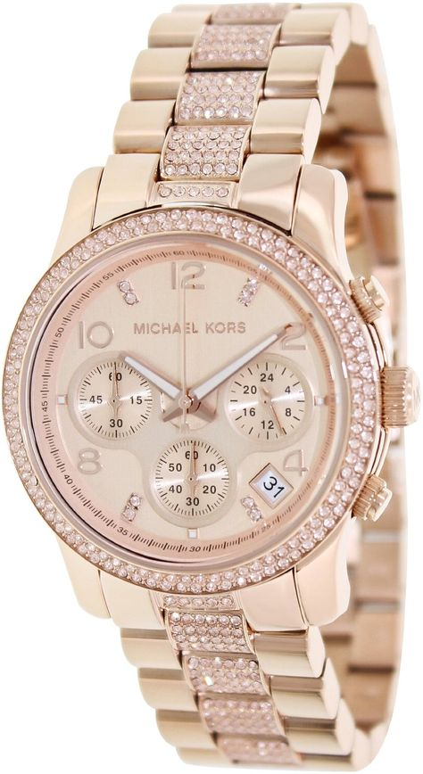 >>>Michael Kors OFF! >>>Visit>> women watches Best Gold watches for women Michael Kors 'Runway Crystal Chronograph Bracelet Watch www.