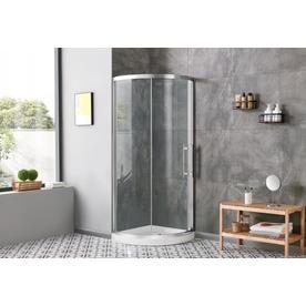 Ove Decors Swift Satin Nickel Corner Round Shower Door 34 In Swift