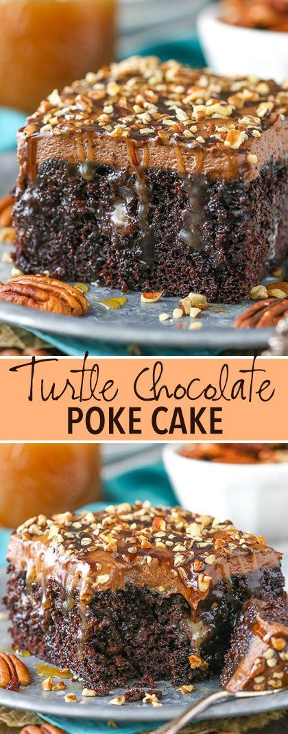 Chocolate Turtle Poke Cake is a moist chocolate cake soaked with caramel sauce & topped with caramel chocolate frosting! A delicious poke cake recipe! #pokecake #chocolate #cake #turtlecake #caramel