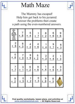Addition Math Maze 3 Math Maze Math Math Fact Games