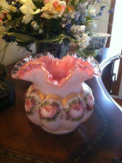 Fenton Charleton Roses Milk Glass Peach Crest Vase 1940s. $49.00, via Etsy.