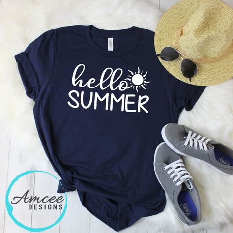 08ff11f4144 Hello SUMMER Sun Graphic Tee   Beach T-Shirt   Sunshine   Seasonal Gift    Relaxed Fit   Trendy Unisex Tees XS-2XL