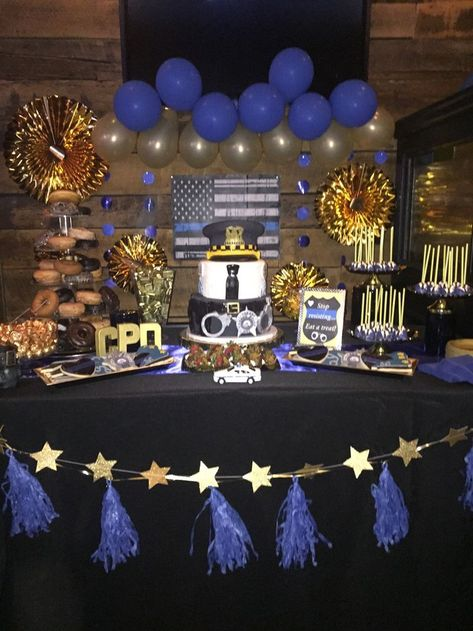 Police promotional party dessert table, sweet table, Chicago police, cake, cake ...,  #Cake #...