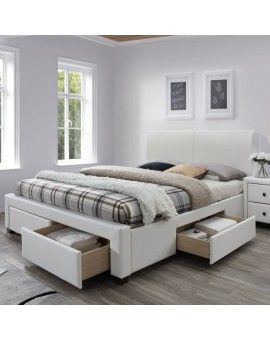 Lit Blanc Design 160x200cm Avec Sommier Et Tiroirs Mariano Lit Tiroir Lit Blanc Lit 160x200 Avec Rangement