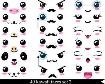 40 Png Files Kawaii Faces Set 2 Digital Clip Art 300 Dpi 087 Kawaii Faces Cute Kawaii Drawings Kawaii Doodles