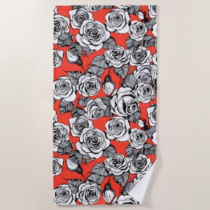 White Roses Pattern Beach Towel Black And White Gifts Unique