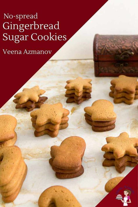 These Gingerbread Sugar Cookies are perfect for this time of the year. Whether you want to eat them as is or decorate them these are light and airy in texture. Unlike regular gingerbread cookies, these do not spread which makes them perfect for decorating with fondant or royal icing and adding them to the cookie hamper. #gingerbreadcookies #gingerbread #cookies #sugarcookies #cookierecipe #gingercookies #molassescookies #Christmascookies