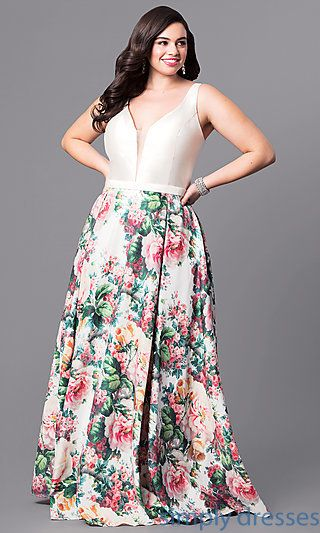 Long Floral Print Skirt V-Neck Plus-Size Prom Dress in 2019 ... 3bcc3ab90