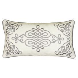 Bring A Pop Of Style With This Chic Cotton Pillow Featuring An Embroidered Scrolling Motif And Piped Edging Pillows Chic Pillows Decorative Pillows