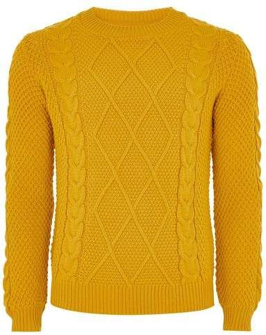 Topman Mens Yellow Mustard Cable Knit Sweater Cable Knit Sweaters Cable Knit Jumper Sweaters