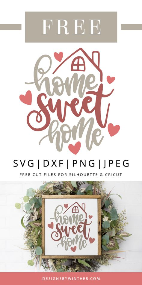 Free home sweet home svg file for cutting machines, such as silhouette and cricut. Make some cute projects for yourself or a friend with this free home svg file. Put it on a pillow, tea towels, print as a printable, make signs and more #home #quote #svg