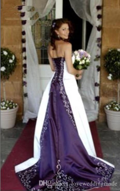 Hot Sale Elegant White And Purple A Line Wedding Dresses Strapless