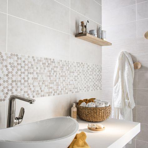 Mosaïque en marbre blanc et moka pour décorer le mur de votre salle ...