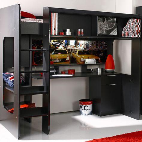 Lit Mezzanine New York Avec Bureau Integre Noir Brillant Lit Mezzanine Mobilier Lit Idees De Lit