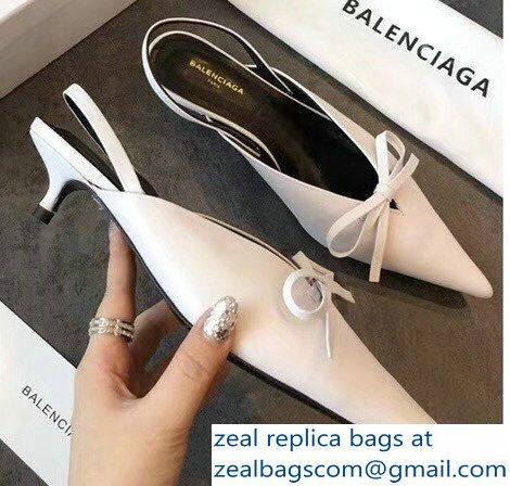 Balenciaga Kitten Heel 4cm Pointed Toe Bow Satin Knife Mules White