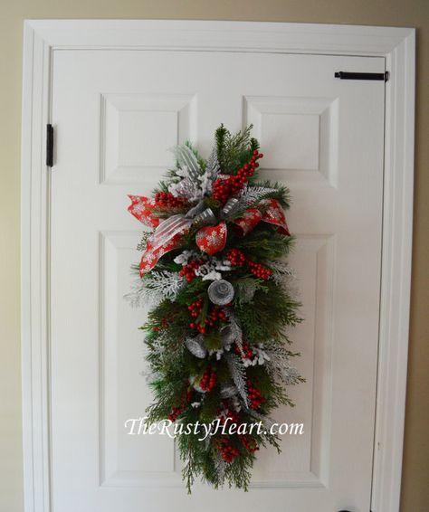 Christmas Door Swag with Silver Bells