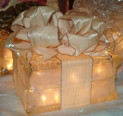 Lighted Glass Block Gift Decoration by PostmarkedParis on Etsy
