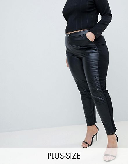 50% price hot-selling genuine new high Outrageous Fortune plus leather look PANTS in black | Thick ...