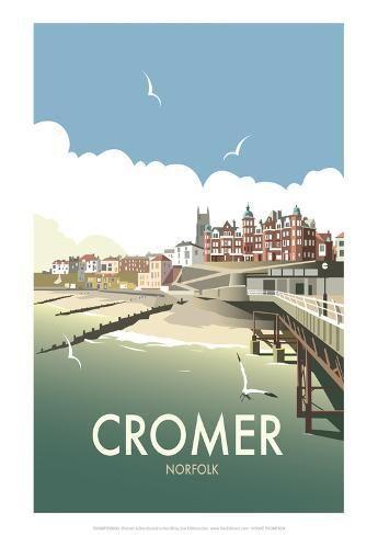 VINTAGE British Rail Cromer Norfolk Coast Railway POSTER A4//A3//A2//A1 stampa