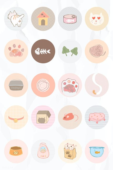 Download free vector of Cat story highlights icon set for social media