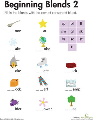 Beginning Blends 2 | Blends worksheets, Consonant blends ...