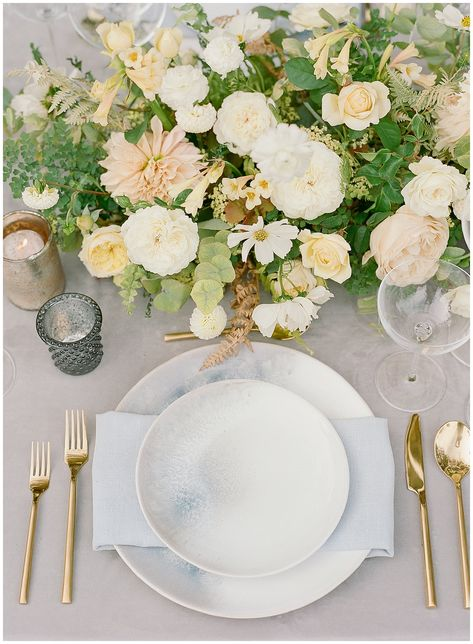 The reception table was designed flawlessly by Riley Loves Lulu. The velvet linen from La Tavola acted as a neutral base and allowed some of the accents – like the dual toned plates and long-stemmed wine glasses to show off. Of course, the elongated centerpieces couldn't have been more lush or beautiful!