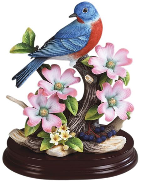 Eastern Bluebird with Dogwood, Porcelain-Bird-Figurines, A9752 - AllSculptures.com