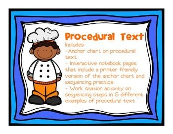 This Lesson On Procedural Text Includes An Anchor Chart On Procedural Text There Is A Printer Friendly Ver Procedural Text Anchor Charts Reading Anchor Charts