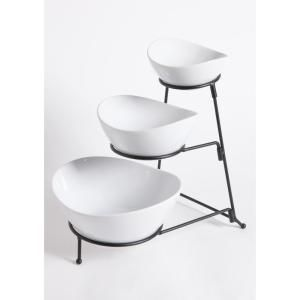 Gibson Elite Gracious Dining 3 Piece 2 Tier White Chip And Dip Set With Metal Rack 101989 03rm The Home Depot In 2020 Serving Bowl Set Fine Ceramic Metal Rack