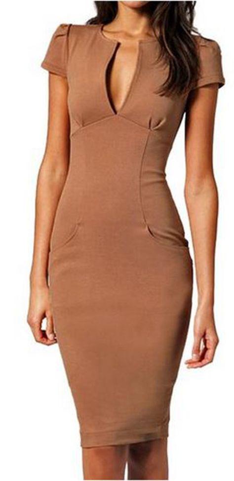 3127ce5771 made2envy Womens Cap Sleeve Pencil Dress Midi Plunge V Neck Dress
