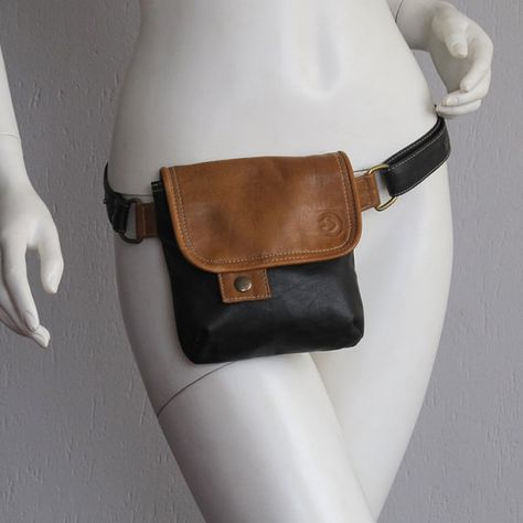Lovely black hip bag with camel details, UPCYCLED LEATHER...make as a sling bag instead....passport?