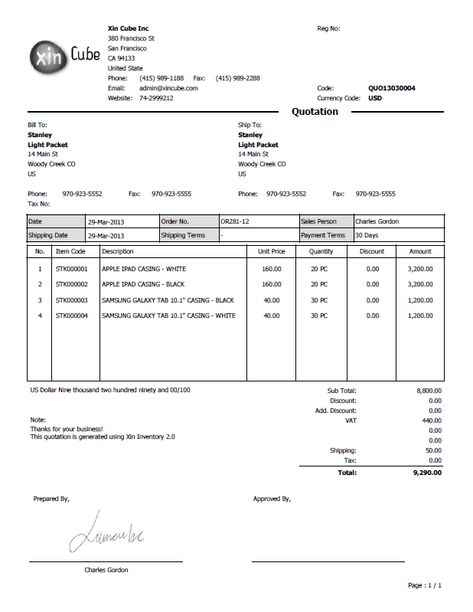 Quotation Document Software Quotation Data Entry Screen - sample invoice quotation