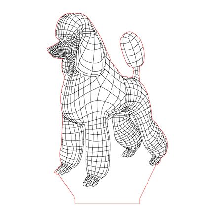 Poodle Dog 3d Illusion Lamp Plan Vector File For Laser And Cnc 3bee Studio Poodle Dog Poodle Poodle Puppy