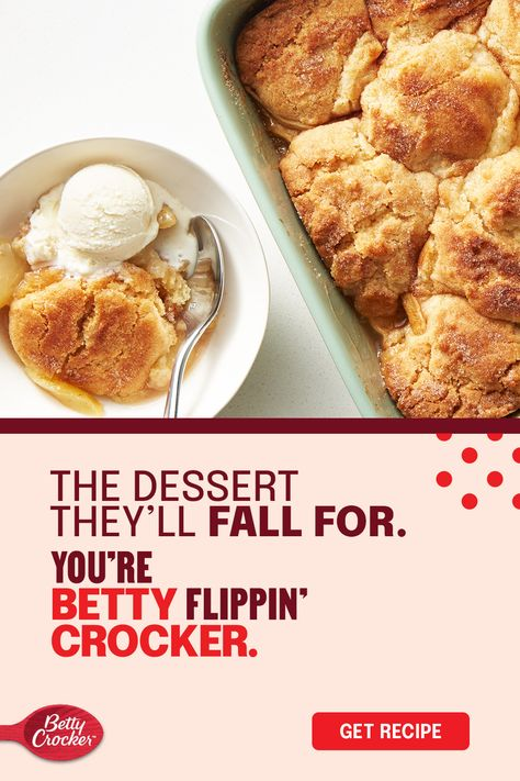 A Thanksgiving dessert should have all the flavors of fall! Made with Betty Crocker cookie mix, this easy holiday dessert brings cinnamon, sugar and apples to a cookie recipe that's about to be mandatory baking. With a cobbler-style top, fluffy center and a perfectly caramel bottom, everyone will be asking for a taste.