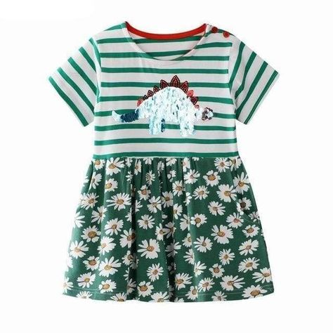 Dinosaur Girl Dress <br> Flowers & Stegosaurus - 6T