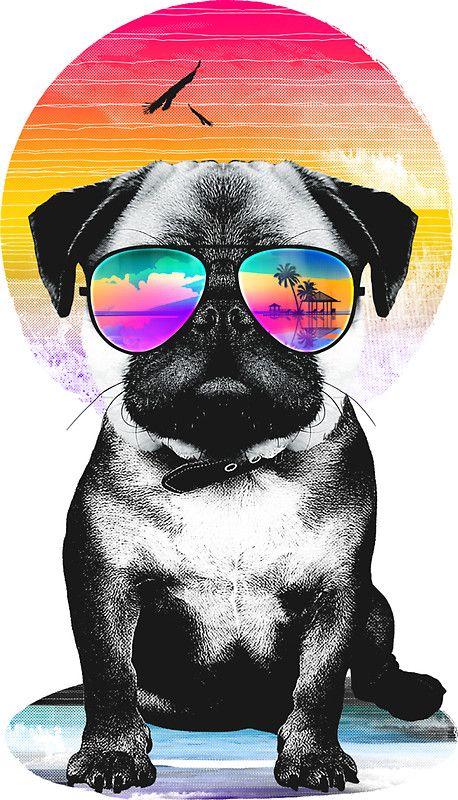 'Summer Pug' Sticker by clingcling