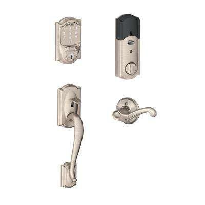 Camelot Satin Nickel Sense Smart Door Lock With Right Handed Flair Lever Door Handleset Smart Door Locks Smart Lock Schlage
