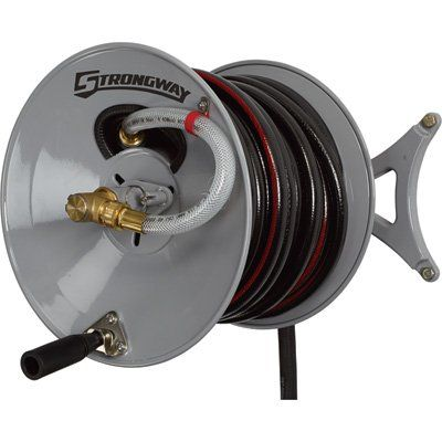 Strongway Parallel or Perpendicular Wall-Mount Garden Hose Reel — Holds  5/8in. x 150ft. Hose | Garden Hose Reels| Northern Tool + Equipment