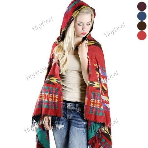 Stylish Missy Women Vintage Bohemian National Style Tassels Thickened Hooded Cloak Cape Shawl Pashmina Scarf DSC-476806