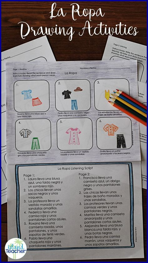 Teach La Ropa Vocabulary With Spanish Clothing Drawing Activities