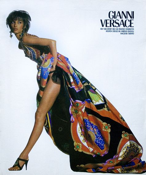 Cindy Crawford in 1987 Gianni Versace ad: Helena Christensen, Linda Evangelista and Christy Turlington in a Gianni Versace ad: Christy Turlington in a Gianni Versace ad: Claudia Schiffer in a 1994 Gianni Versace ad: Found at Image Amplified.